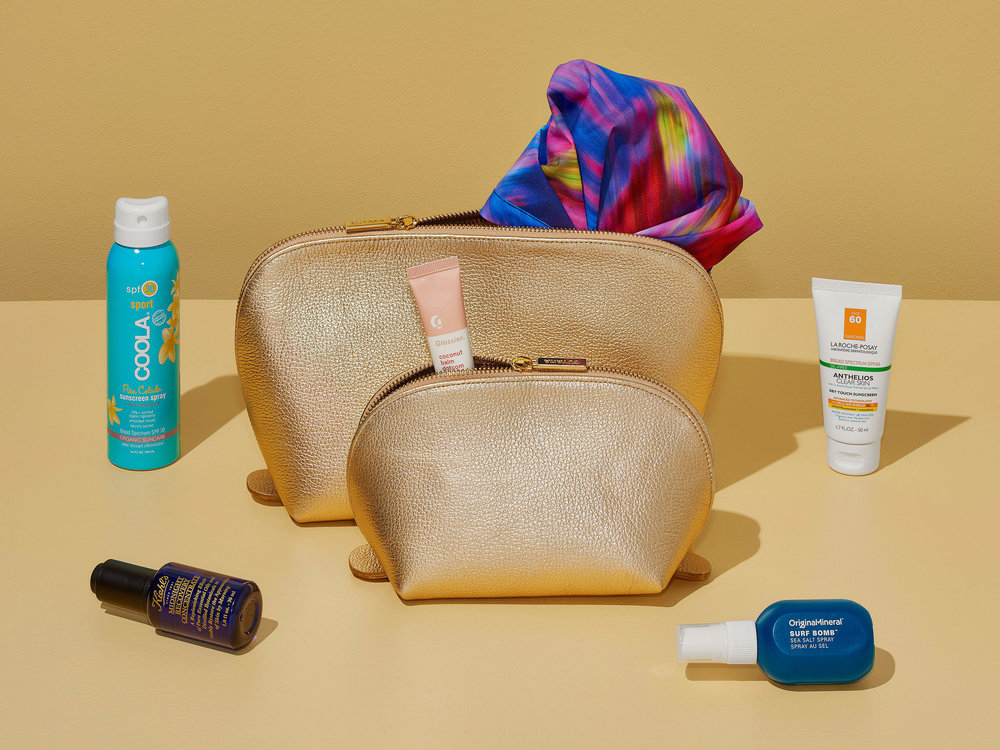 Store your beauty booty in this Cuyana pebble leather pouch set ($125). The two sizes make storing and separating neater, and the larger pouch can double as a clutch for après-beach cocktails.CreditCorey Olsen for The New York Times