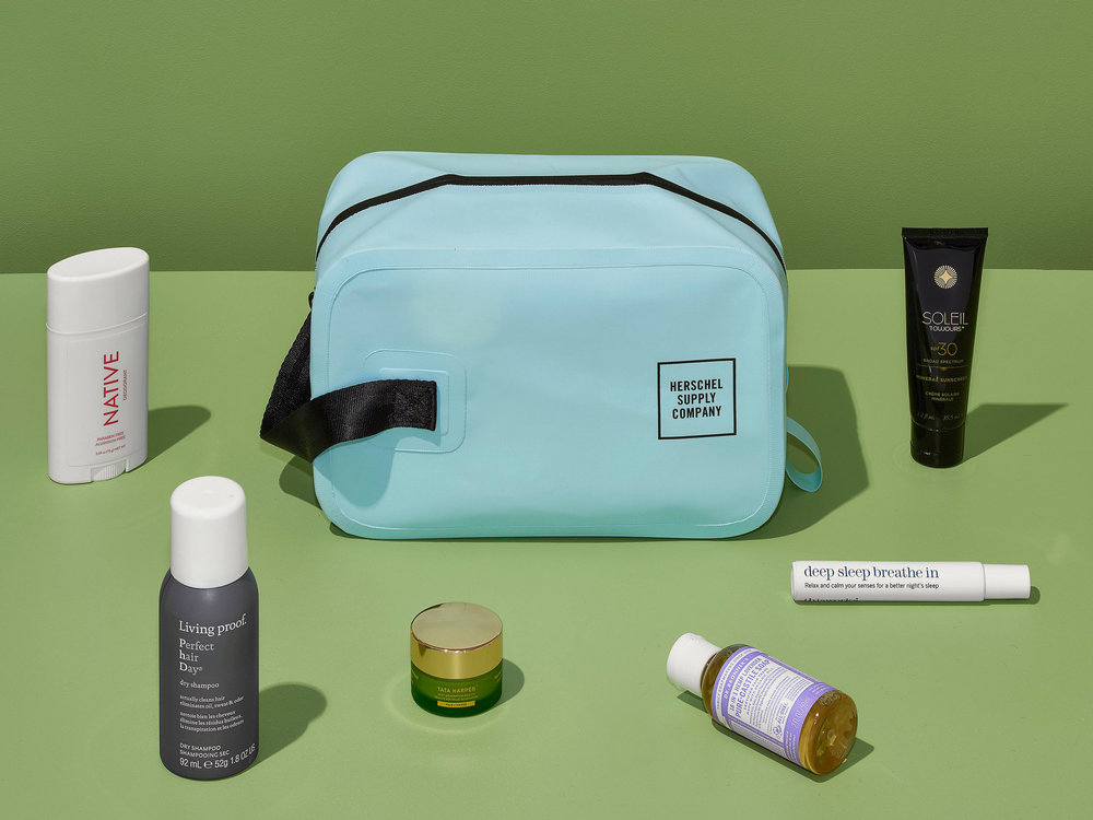 The Herschel Supply Company Chapter Travel Kit ($30) is rough and tumble on the inside, but cleanly designed on the outside. It comes in water-resistant tarpaulin with a handle for toting.CreditCorey Olsen for The New York Times