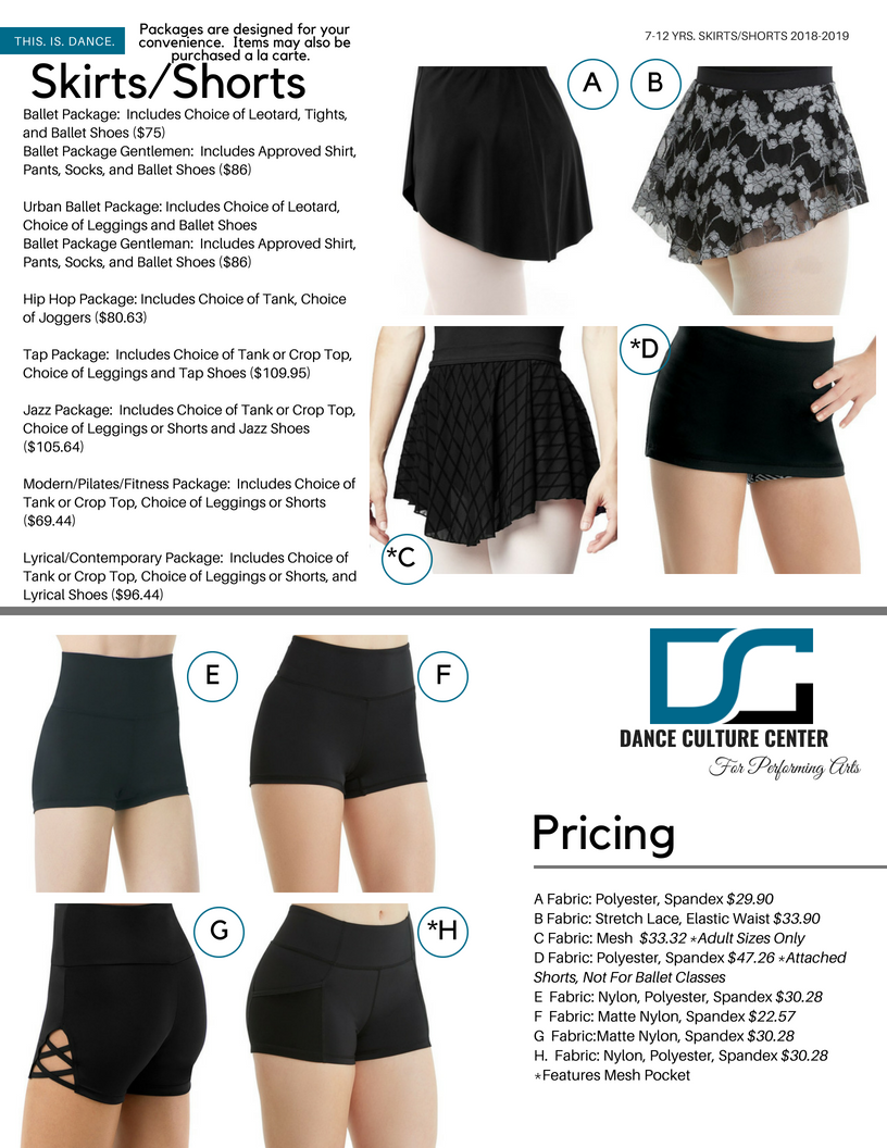 Skirts/Shorts 7-12 Yrs.