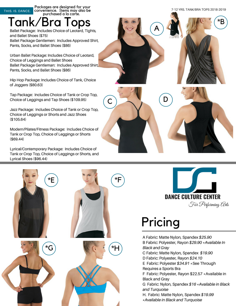 Tank/Bra Tops 7-12 Yrs.