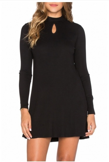 Chic Solid Knit High Neck Long Sleeve Mini Dress  - Original Price $19.99 (SALE Price $12.99)