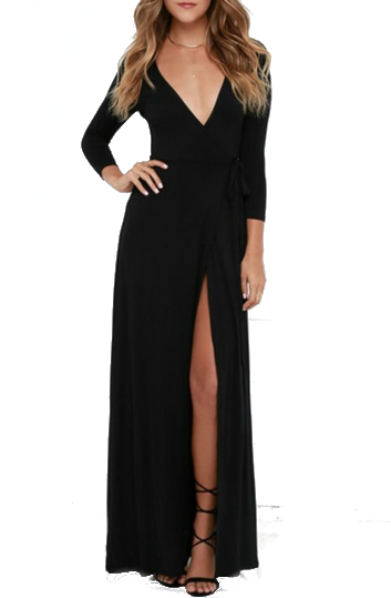 Modern Black High Slit Belted Wrap Dress  - Original Price $24.99 (SALE Price $19.99)