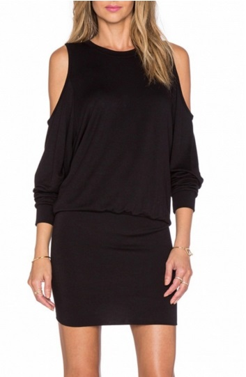 Black Open-Shoulder Round Neck Stretch Knit Dress  - Original Price $19.99 (SALE Price $15.99)