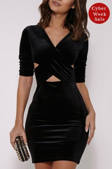 Fancy Velvet Crisscross Front Body-con Dress  - Original Price $24.99 (SALE Price $13.99)