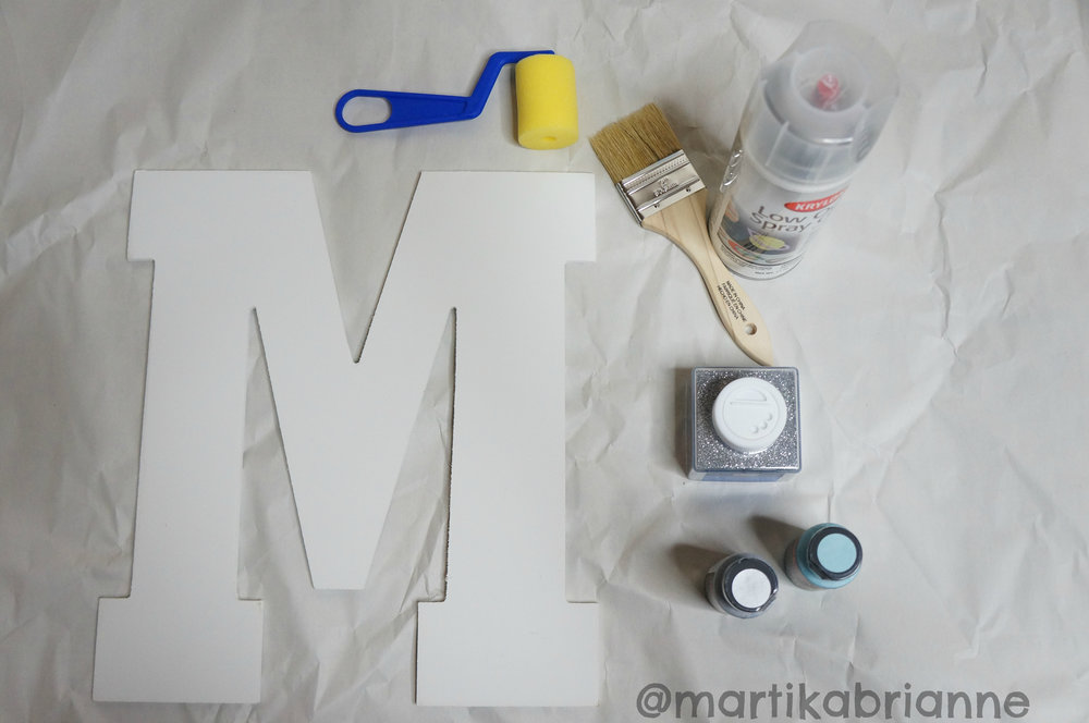 "Wooden Initial, Art Minds - Extra Fine Glitter, Craftsmart - Silver Premium Metallic Acrylic Paint, Krylon - Low Odor Spray Glue, 2"" Paint Brush, 2"" Roller Brush"