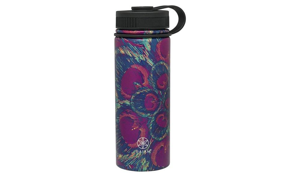 Gaiam® 18oz Stainless Steel Water Bottle - Purple Peacock