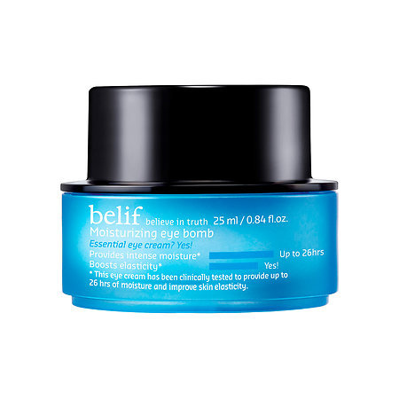BELIF MOISTURIZING EYE BOMB - BENEFIT: All Skin Types, Lightweight, 26 Hours of Moisture, Intense HydrationAlso Available at SephoraYou didn't think I would leave you hanging like that with my last two products without AMAZING backups? I LIVE for the Belif Moisturizing Eye Bomb, as it is amazing and the rumors of flawless makeup application are TRUE! It is also clinically proven to hold moisture for 26 Hours. As a firm Belif-er, I can attest to this!