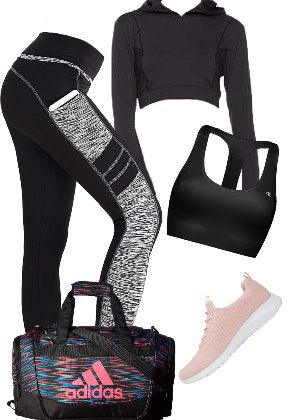 Workout Leggings      Sport By Skechers Charlize Athletic Shoes      Long Sleeve Cropped Hoody with Mesh Panels      Champion Absolute Sports Bra      Adidas Squad III Duffel Bag