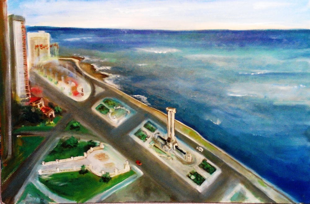 Yuri Derzhavin's painting of the Malecon, looking toward Anti-Imperialist Park, with the monument to the Maine on the right.