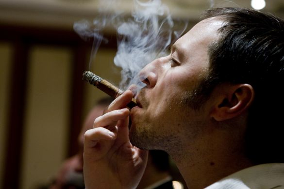 A cigar aficionado taking a puff during Habanos Day in Russia on Thursday. The new Cohiba was also introduced.