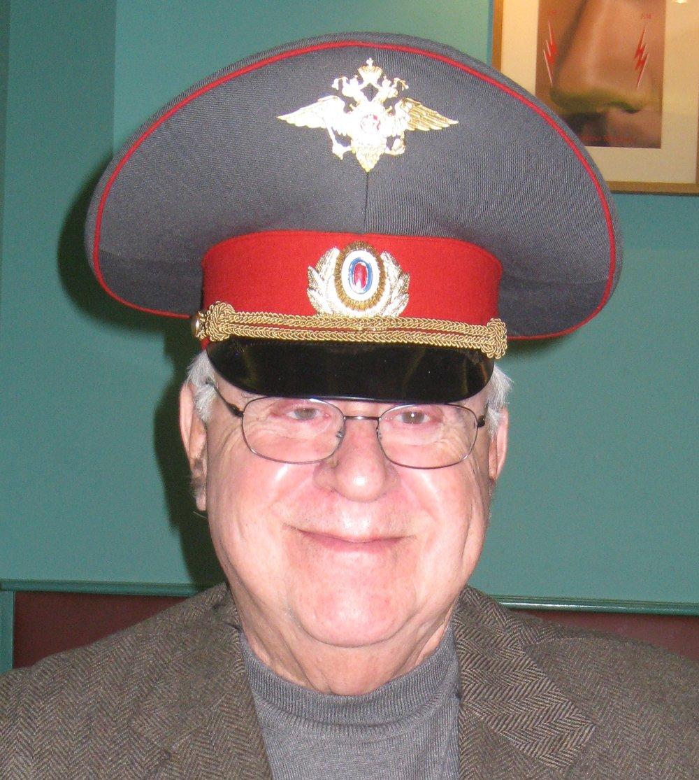 Matt in Russian police officer's cap