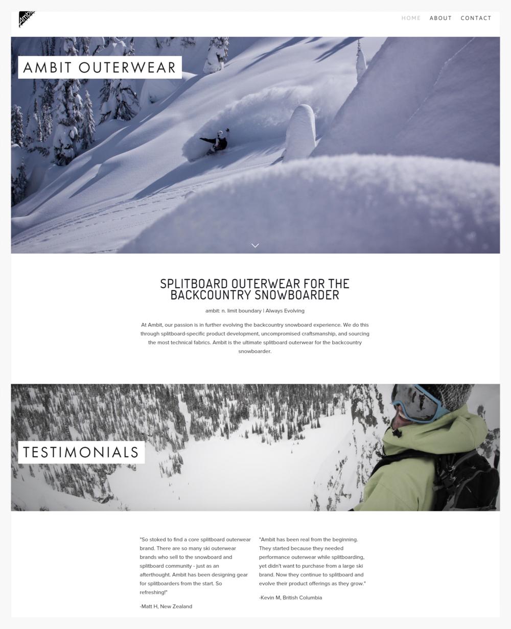 Ambit Outerwear Website Design