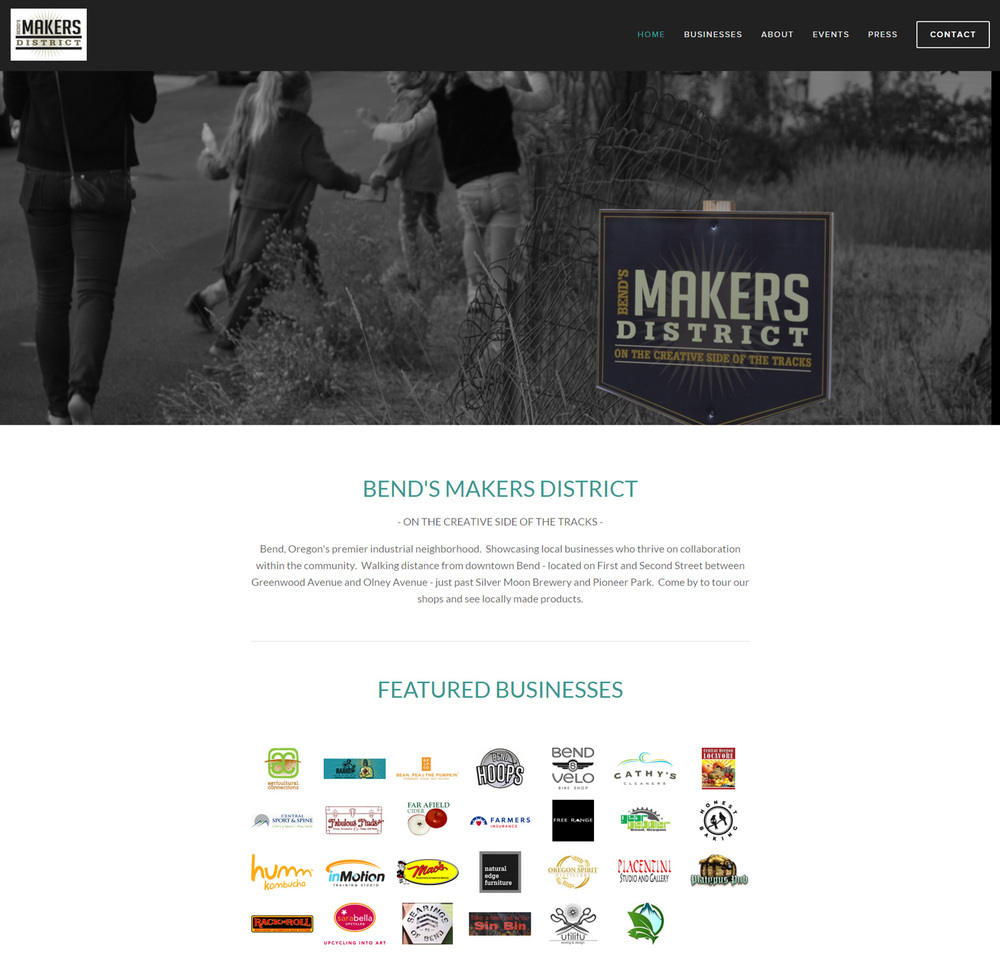 Bends Makers District Website Design