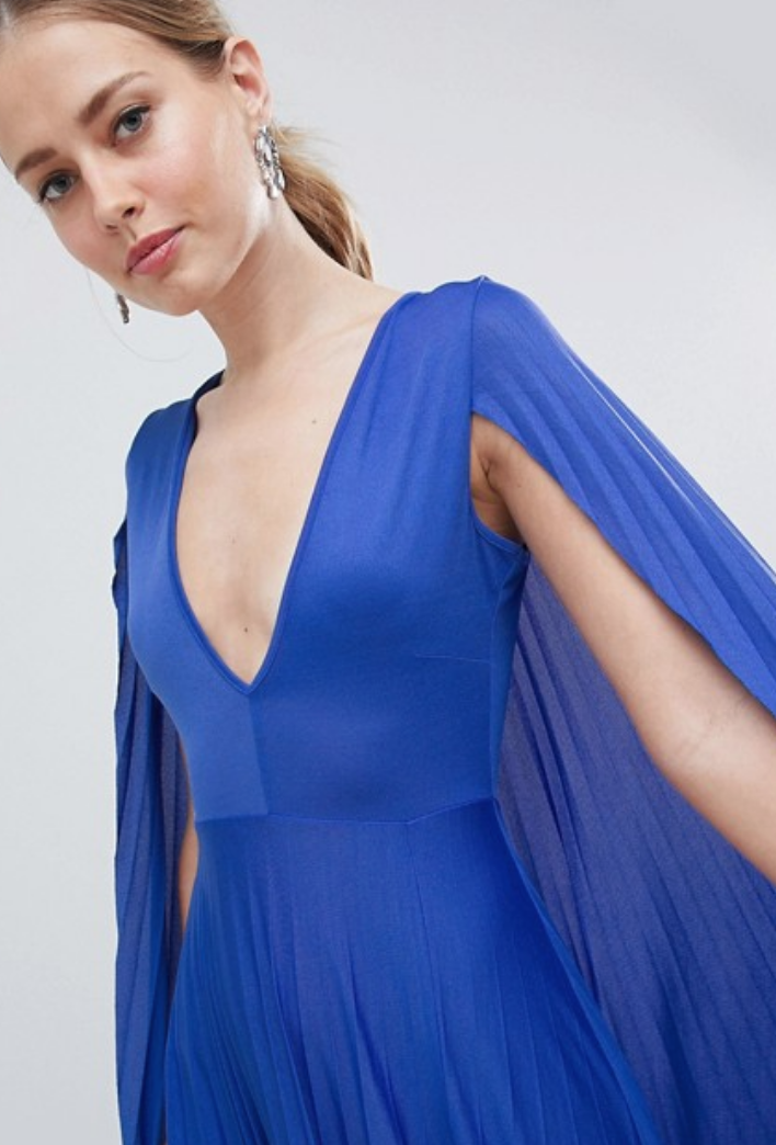 ASOS DESIGN cape pleated maxi dress .