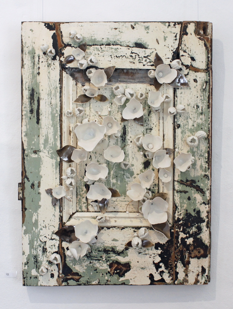 Amy Hick,  French Door no.1 , 2015. Hand built imperial porcelain, French door frame, clear glaze, bronze glaze, copper wire, approximately 70x50x10cm  Photography: Madeline Young