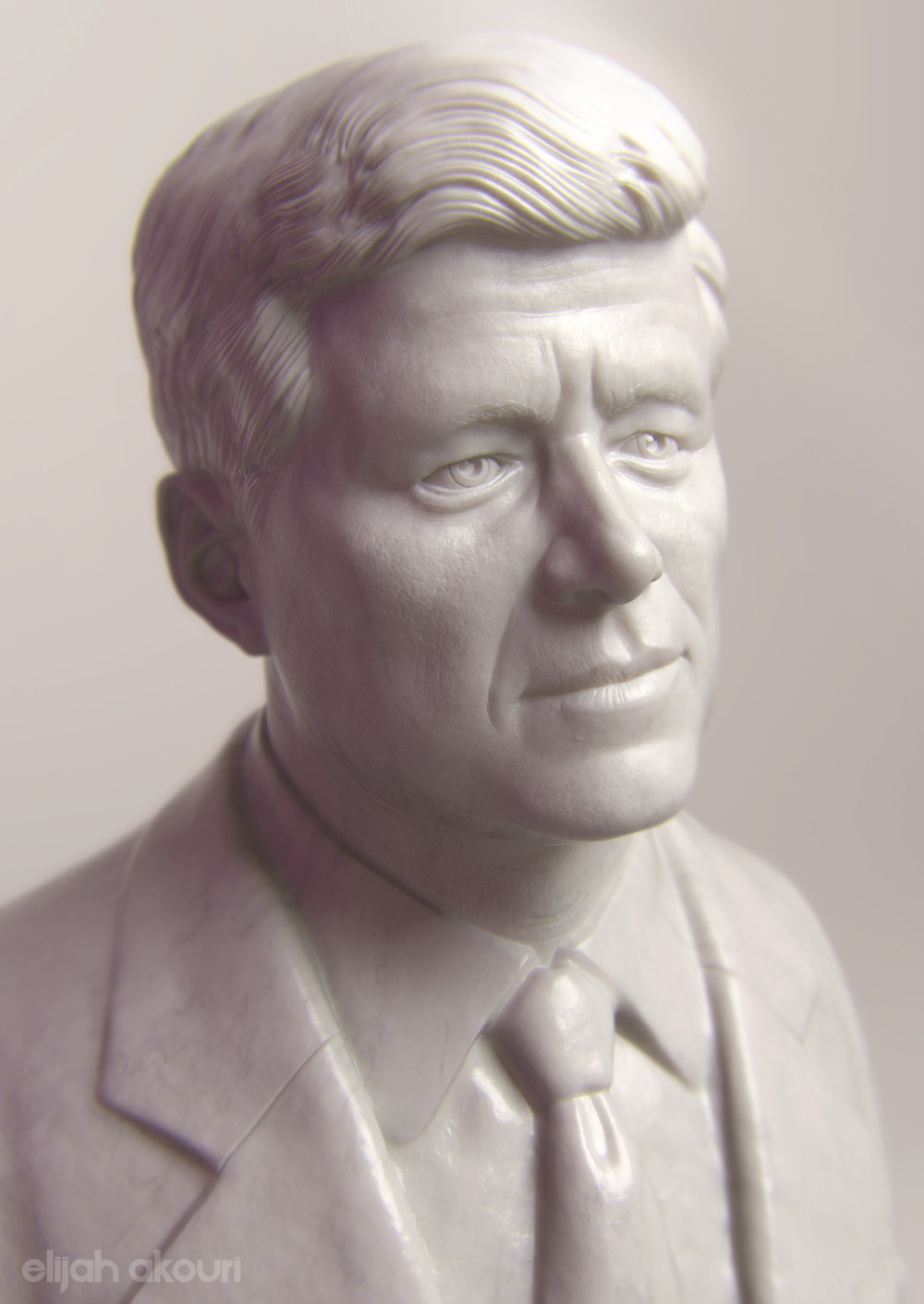 "A fun sculpt I did of JFK for the ""100th anniversary of the birth of President John F. Kennedy"" on the History Channel"