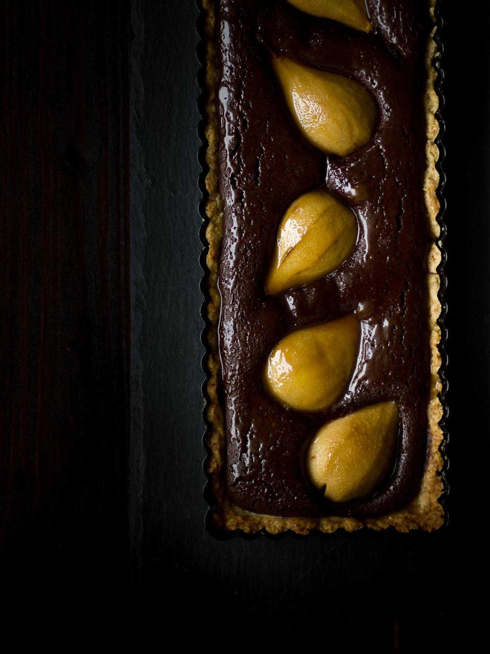Tarta de chocolate y pera