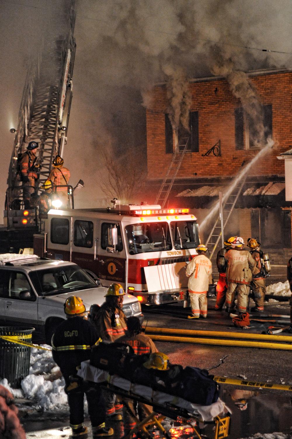 Firefighters battle a two alarm fire at the Charles Village Pub in Towson, MD. The fire broke out about 7:35pm and took over 100 firefighters and 25 trucks one hour to contain the blaze.