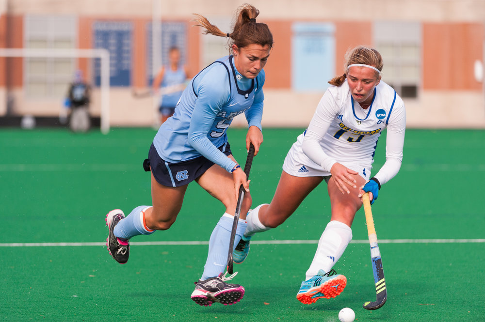 North Carolina forward Sam Night (5) and Delaware midfielder Marjelle Scheffers (15) fight for the ball during the 2016 NCAA DI National Championship at the L.R. Hill Sports Complex in Norfolk, VA. Delaware defeated North Carolina 3-2.