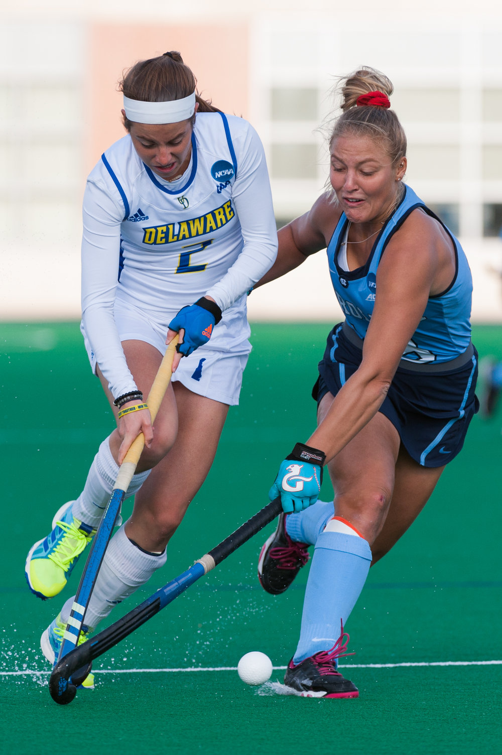 Delaware forward Taylor Lister (2) and North Carolina midfielder Ashley Hoffman (13) fight for the ball during the 2016 NCAA DI National Championship at the L.R. Hill Sports Complex in Norfolk, VA. Delaware defeated North Carolina 3-2.