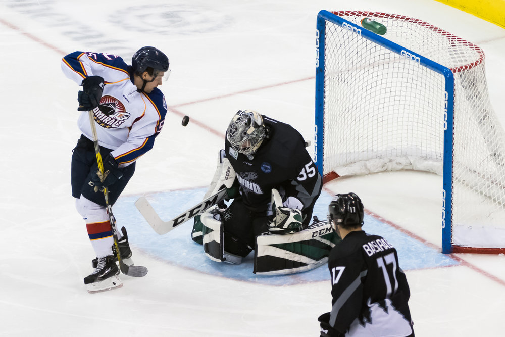 Idaho Steelheads goalie Landon Bow (35) blocks a shot by Norfolk Admirals center Jeff DiNallo (55) during Saturday night's game at the Scope Arena in Norfolk, Virginia. Idaho defeated Norfolk 4-1.