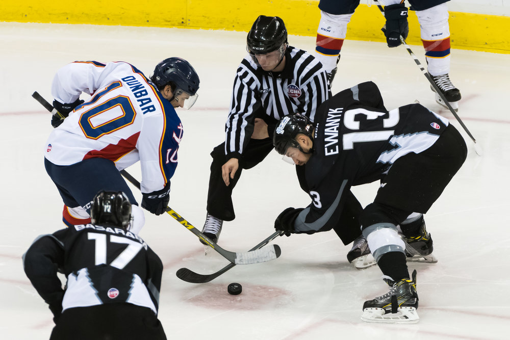 Norfolk Admirals forward John Dunbar (10) and Idaho Steelheads forward Travis Ewanyk (13) face off during Saturday night's game at the Scope Arena in Norfolk, Virginia. Idaho defeated Norfolk 4-1.