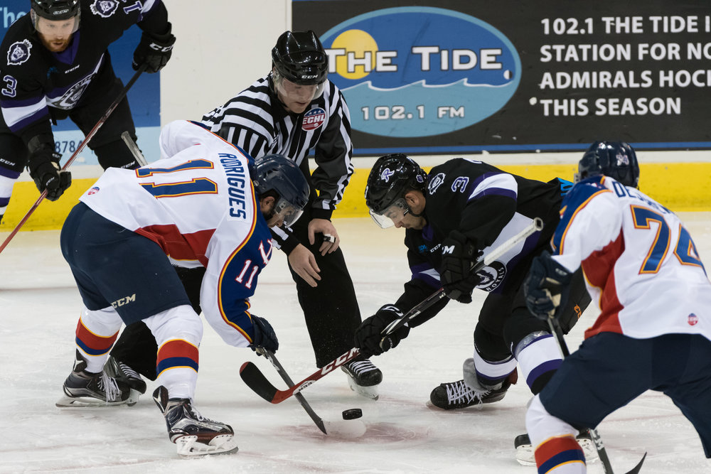 Norfolk Admirals center Paul Rodrigues and Reading Royals forward Chris McCarthy face off during the Friday, December 2nd 2016 game. Reading Royals lead the Norfolk Admirals 4-0 at the end of the second period.