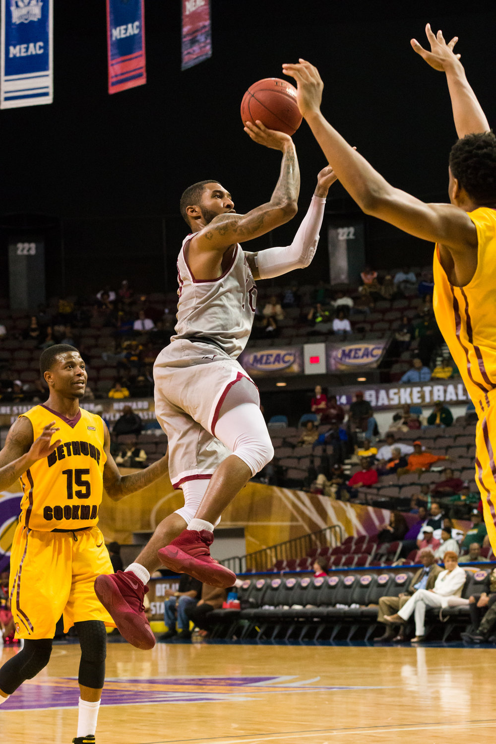 North Carolina Central Eagles guard Patrick Cole (11) goes up for a shot against the Bethune-Cookman Wildcats during the 2017 MEAC Tournament held at the Scope Arena in Norfolk, VA. North Carolina Central defeated Bethune-Cookman 95-60.
