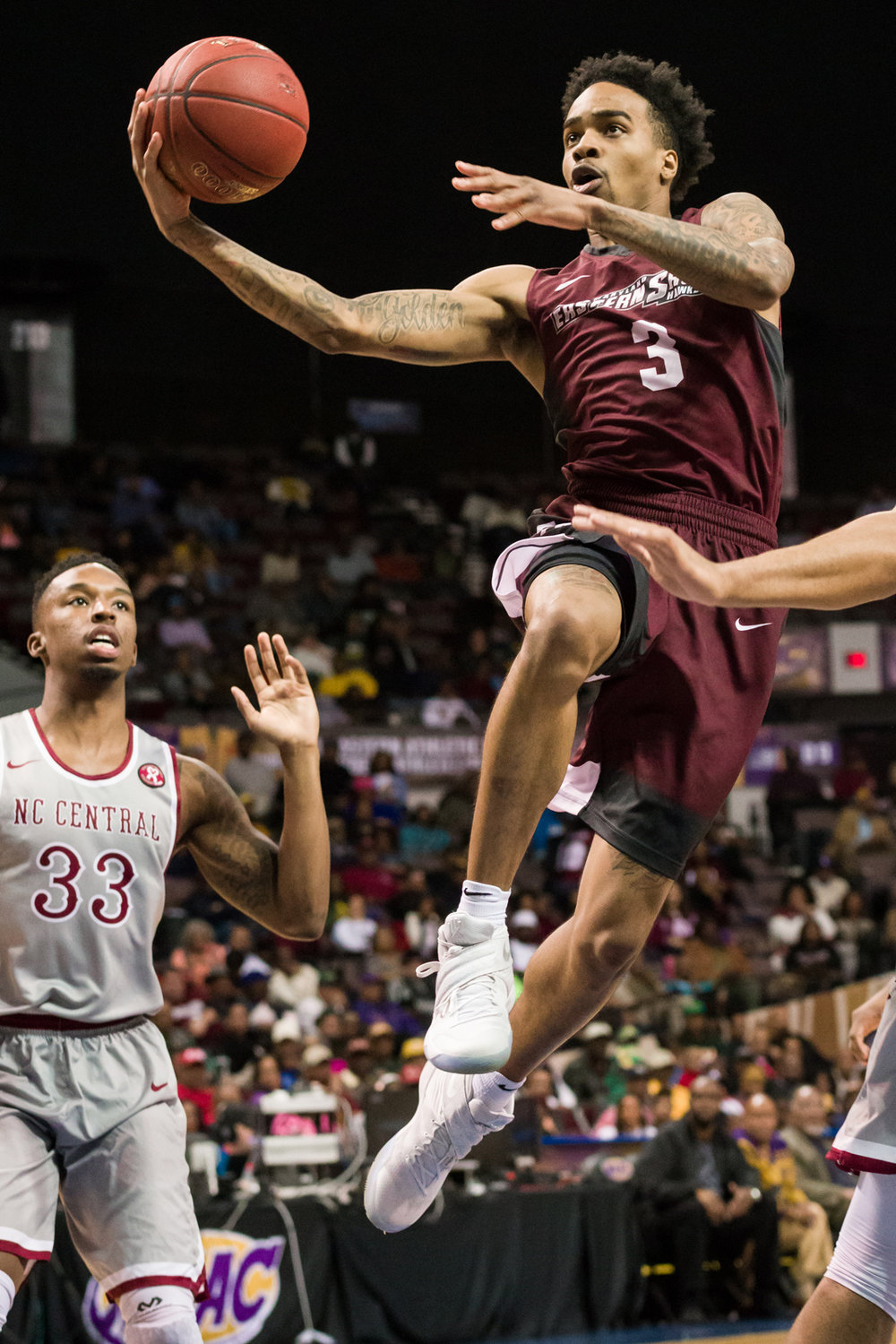 North Carolina Central Eagles guard Rashaun Madison (3) goes up for a shot against the North Carolina Central Eagles during the 2017 MEAC Tournament held at the Scope Arena in Norfolk, VA. North Carolina Central defeated Maryland Eastern Shore 77-49.
