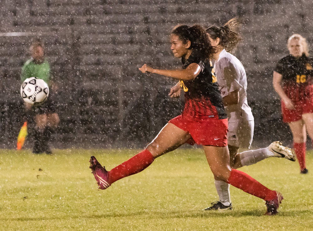 Bayside goalkeeper Alyssa Anderson (20) in action against Princess Anne during Tuesday night�s game at Princess Anne High School. Princess Anne defeated Bayside 8-1.