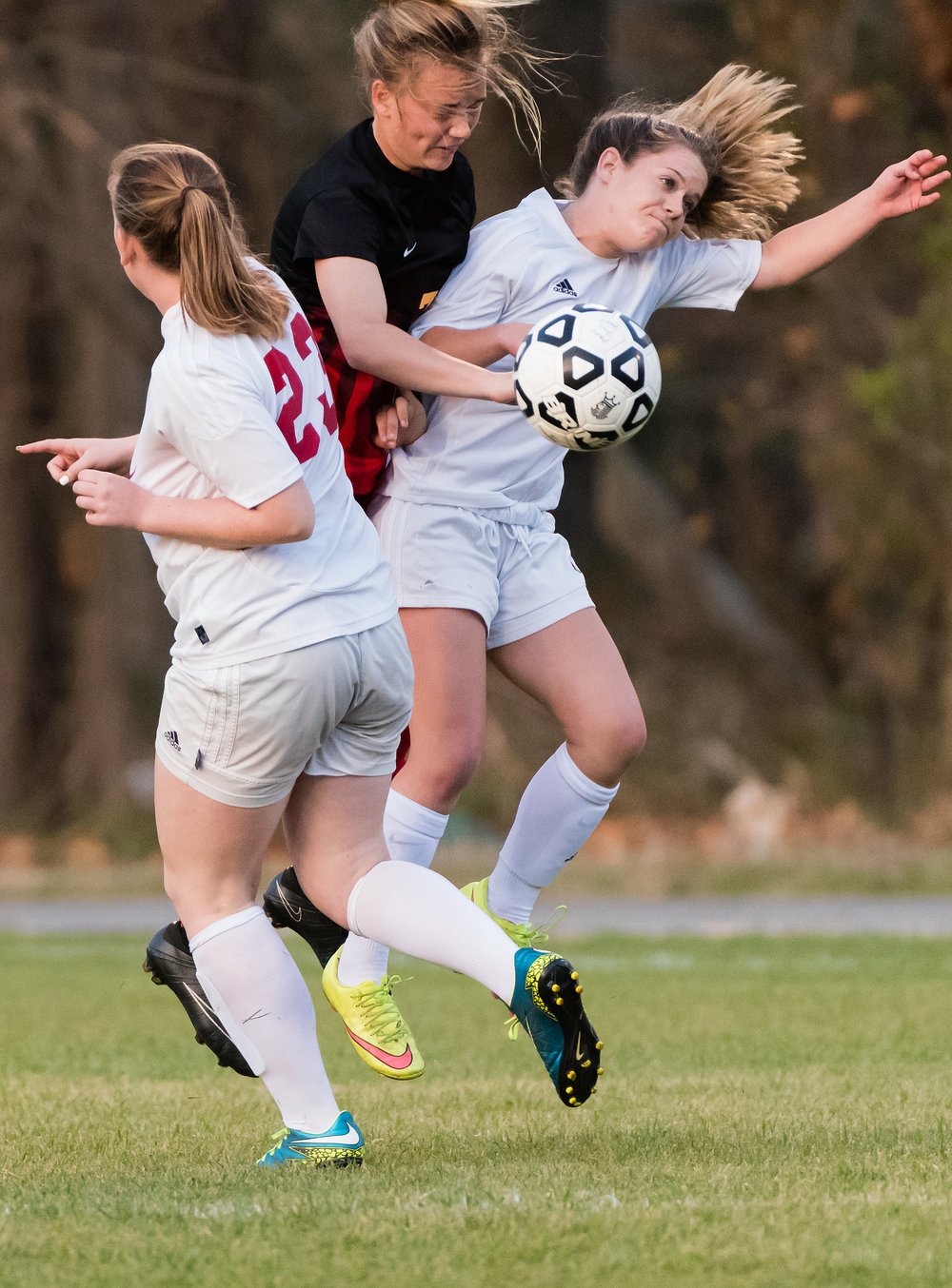 Princess Anne forward Morgan Stace (3) and Bayside defender Jocelyn Anop (7) go up for the ball during Tuesday night�s game at Princess Anne High School. Princess Anne defeated Bayside 8-1.