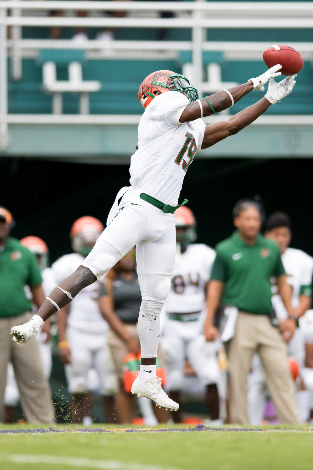 Florida A&M Rattlers wide receiver Kareem Smith (19) leaps for the ball for an incomplete pass during the Saturday, October 7th 2017 game against the Norfolk State Spartans held at Dick Price Stadium in Norfolk, Virginia. Score is tied 14-14 at the half.