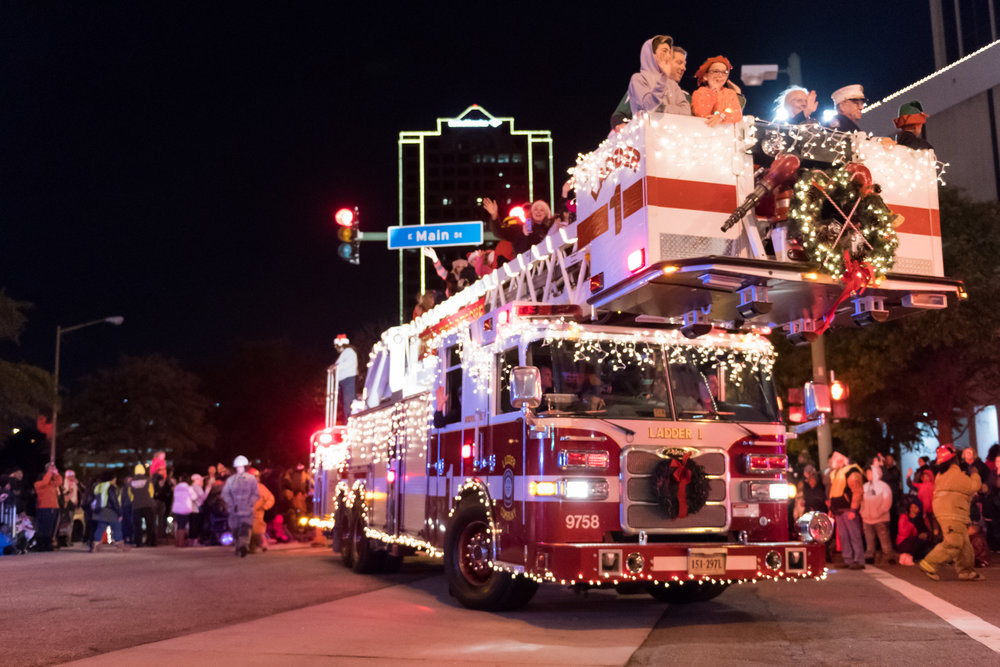Norfolk Fire Department Ladder 1 during the 33rd Annual Grand Illumination Parade on Saturday, November 18, 2017.