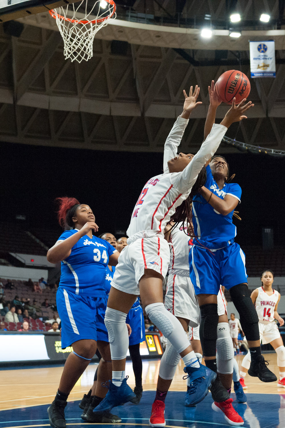 Princess Anne's Mahogany Lester takes a shot against Norview's Iya Holley-Reid during the Region 5A Championship game held Monday, February 26, 2018 at the Norfolk Scope. Princess Anne defeated Norview 61 to 40.