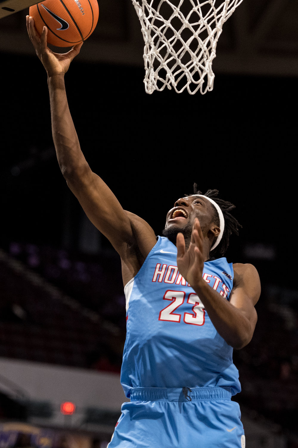Delaware State Hornets forward Simon Okolue (23) goes up for a basket against the North Carolina A&T Aggies during the Monday, March 5, 2018 game held at Norfolk Scope Arena. North Carolina A&T defeated Delaware State 62 to 61 in overtime.