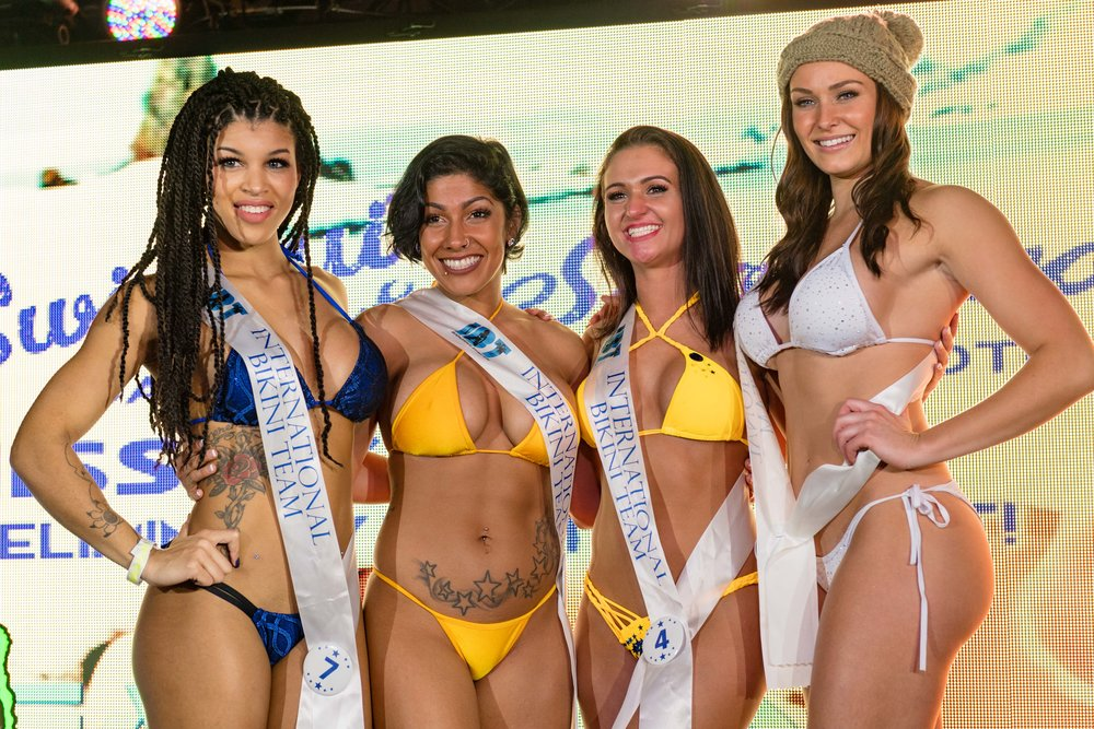 Winners from preliminary round 1 of the 2018 @coastaledge Miss ECSC Pageant held at @peabodysnightclub presented by iHeartRadio, vbjaycees, Fireball Whisky, and @ibtmodels. The top 4 advanced to the semi-finals in August at the 56th Annual @ecscsurf Coastal Edge East Coast Surfing Championships Presented by Vans and Fueled by @monsterenergy