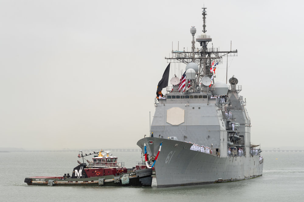 The USS Monterey returns to Naval Station Norfolk on Sunday, May 6, 2018. The USS Monterey is returning from a seven month deployment to the Navy's 5th and 6th Fleets, culminating in missile strikes against Syria in April.