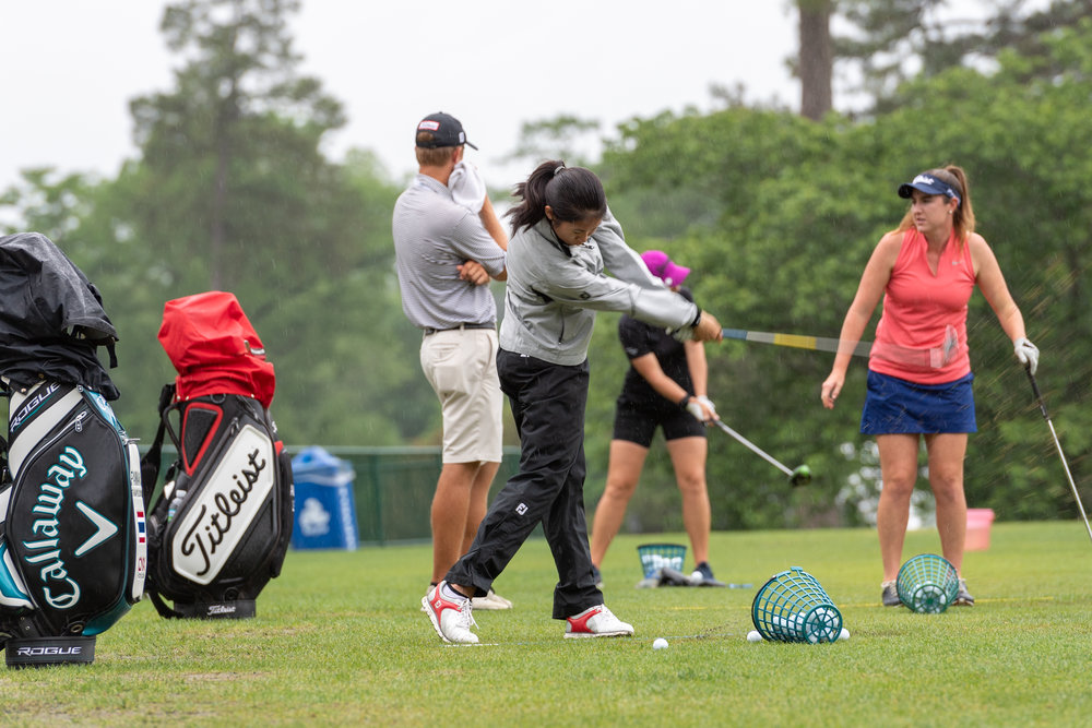 Pannarat Thanapolboonyaras practices in the rain on Saturday, May 19, 2018 game at Kingsmill Resort . Play was suspended Friday night due to weather conditions and is expected to continue Sunday, May 20, 2018.