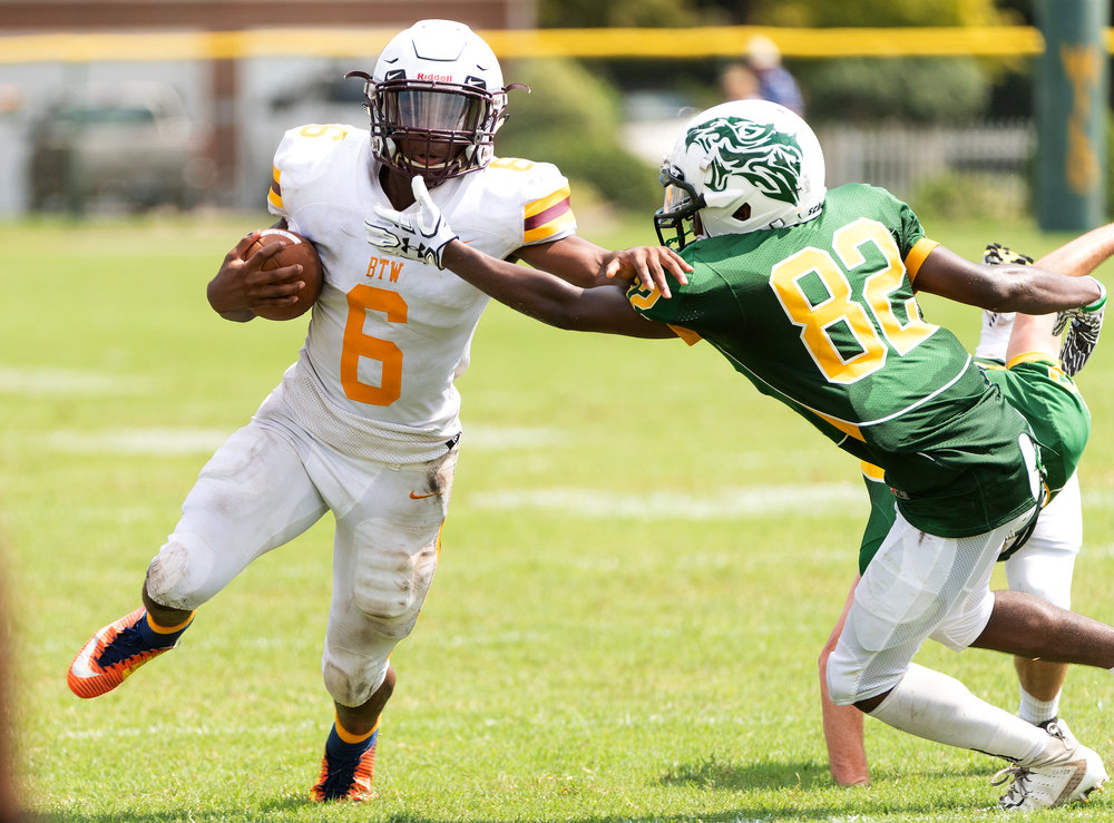 Game action from High School Football: Booker T Washington vs Great Bridge held on Saturday, September 1, 2018 at Colon L. Hall Stadium in Chesapeake.