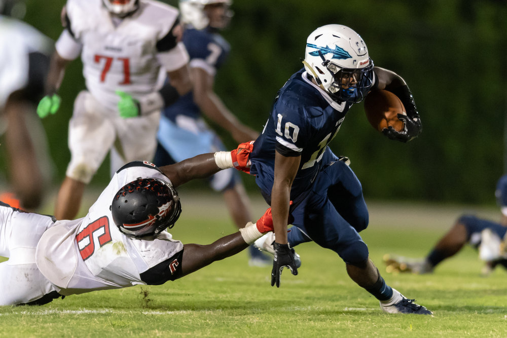 during the Friday, September 21, 2018 game at Indian River High School. Indian River leads Nansemond River 21 to 0 in the second quarter.
