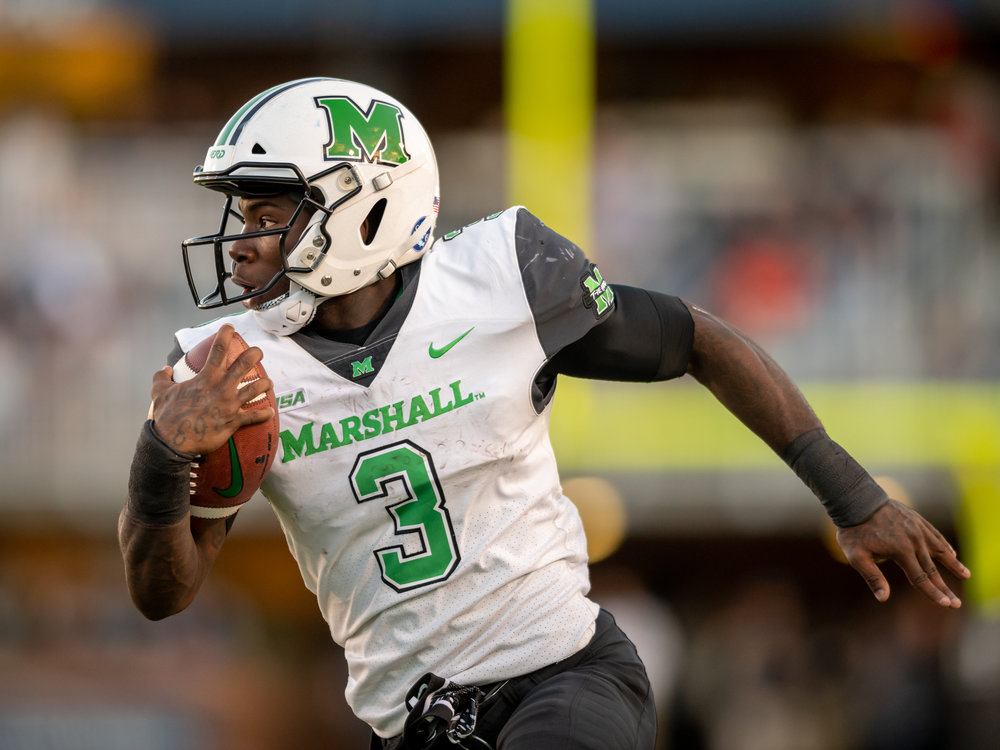 Marshall Thundering Herd running back Tyler King (3) runs the ball against the Old Dominion Monarchs during the Saturday, Oct. 13, 2018 game held at Old Dominion University in Norfolk, Virginia. Marshall defeated Old Dominion 42 to 20.