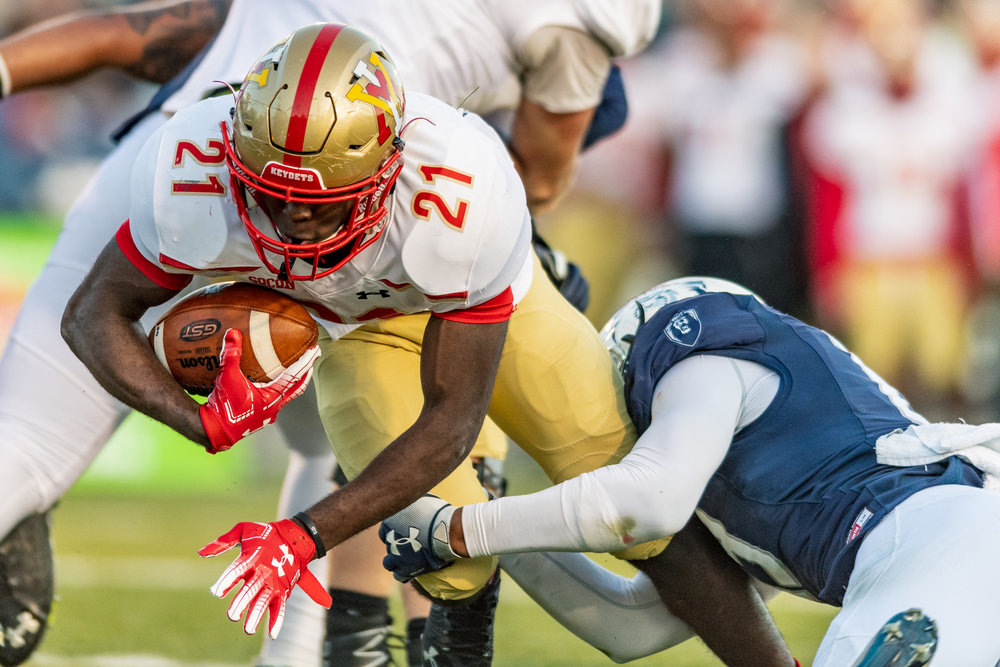 Virginia Military Institute Keydets running back Korey Bridy (21) runs the ball against the Old Dominion Monarchs during the Saturday, Nov. 17, 2018 game held at Old Dominion University in Norfolk, Virginia. Old Dominion defeated VMI 77 to 14.