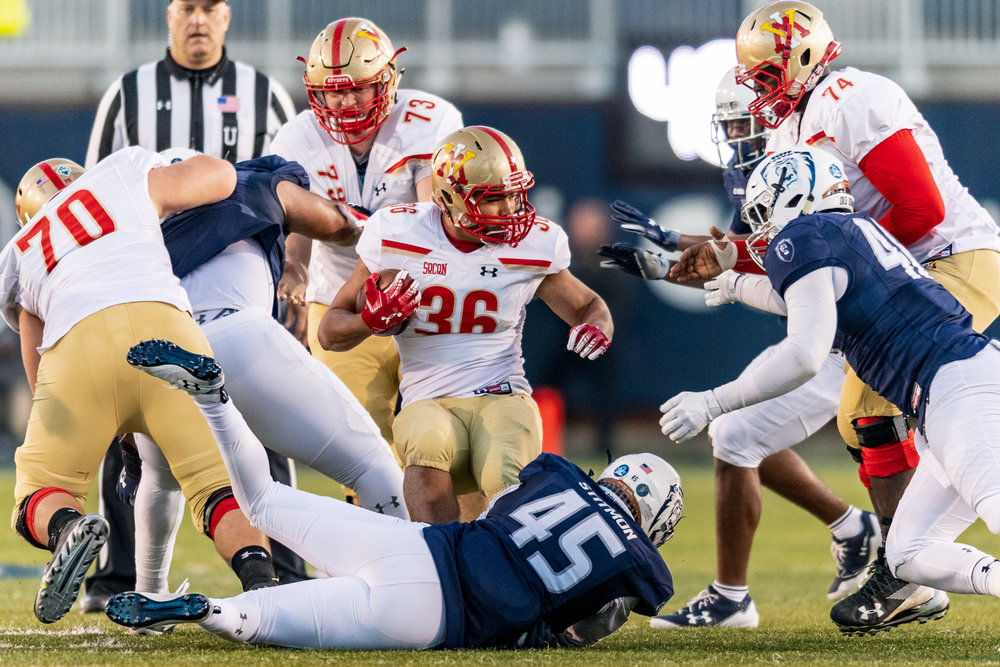Virginia Military Institute Keydets running back Alex Ramsey (36) runs the ball against the Old Dominion Monarchs during the Saturday, Nov. 17, 2018 game held at Old Dominion University in Norfolk, Virginia. Old Dominion defeated VMI 77 to 14.