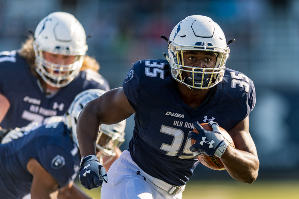 Old Dominion Monarchs running back Jeremy Cox (35) runs for a touchdown against the Virginia Military Institute Keydets during the Saturday, Nov. 17, 2018 game held at Old Dominion University in Norfolk, Virginia. Old Dominion leads VMI 49 to 0 at halftime.