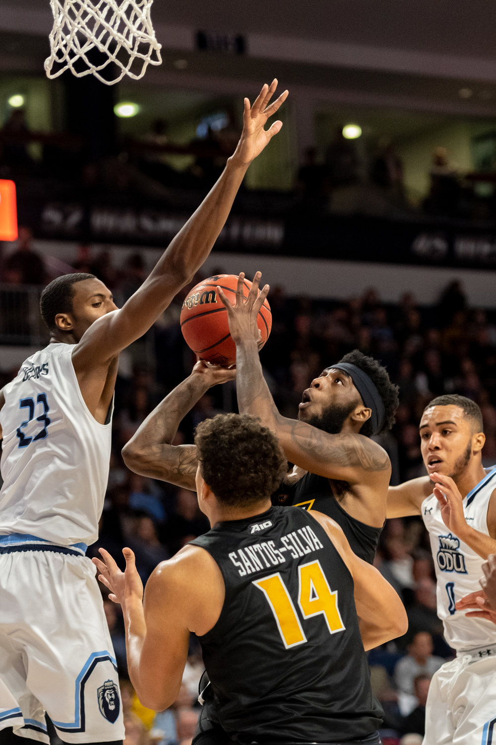 Virginia Commonwealth Rams forward Issac Vann (23) goes up for a shot under pressure from Old Dominion Monarchs forward Dajour Dickens (23) during the Wednesday, November 28, 2018 game held at Old Dominion University in Norfolk. Old Dominion defeated VCU 62 to 52.
