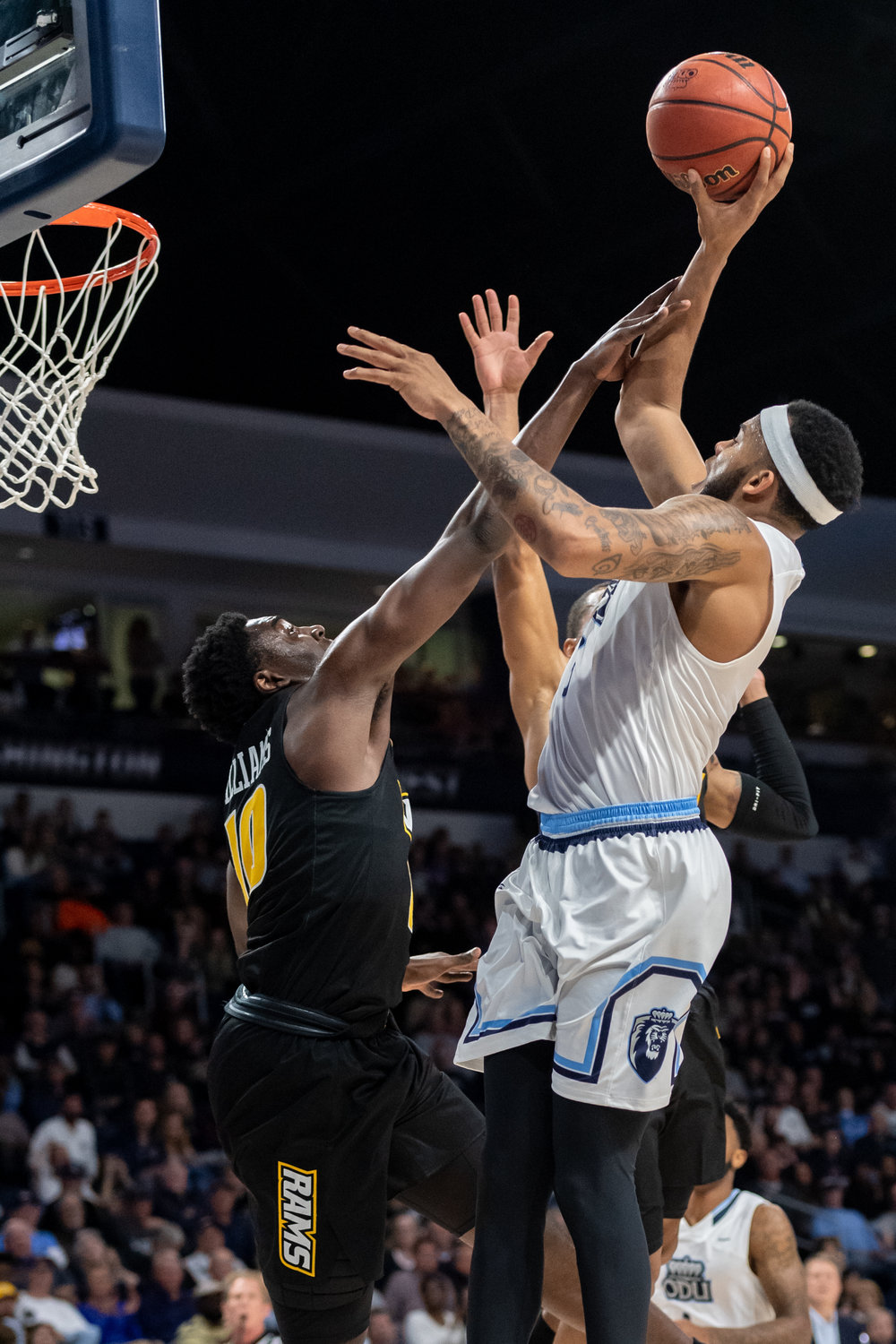 Old Dominion Monarchs guard B.J. Stith (3) goes up for a shot under pressure from Virginia Commonwealth Rams guard Vince Williams (10) during the Wednesday, November 28, 2018 game held at Old Dominion University in Norfolk. Old Dominion defeated VCU 62 to 52.