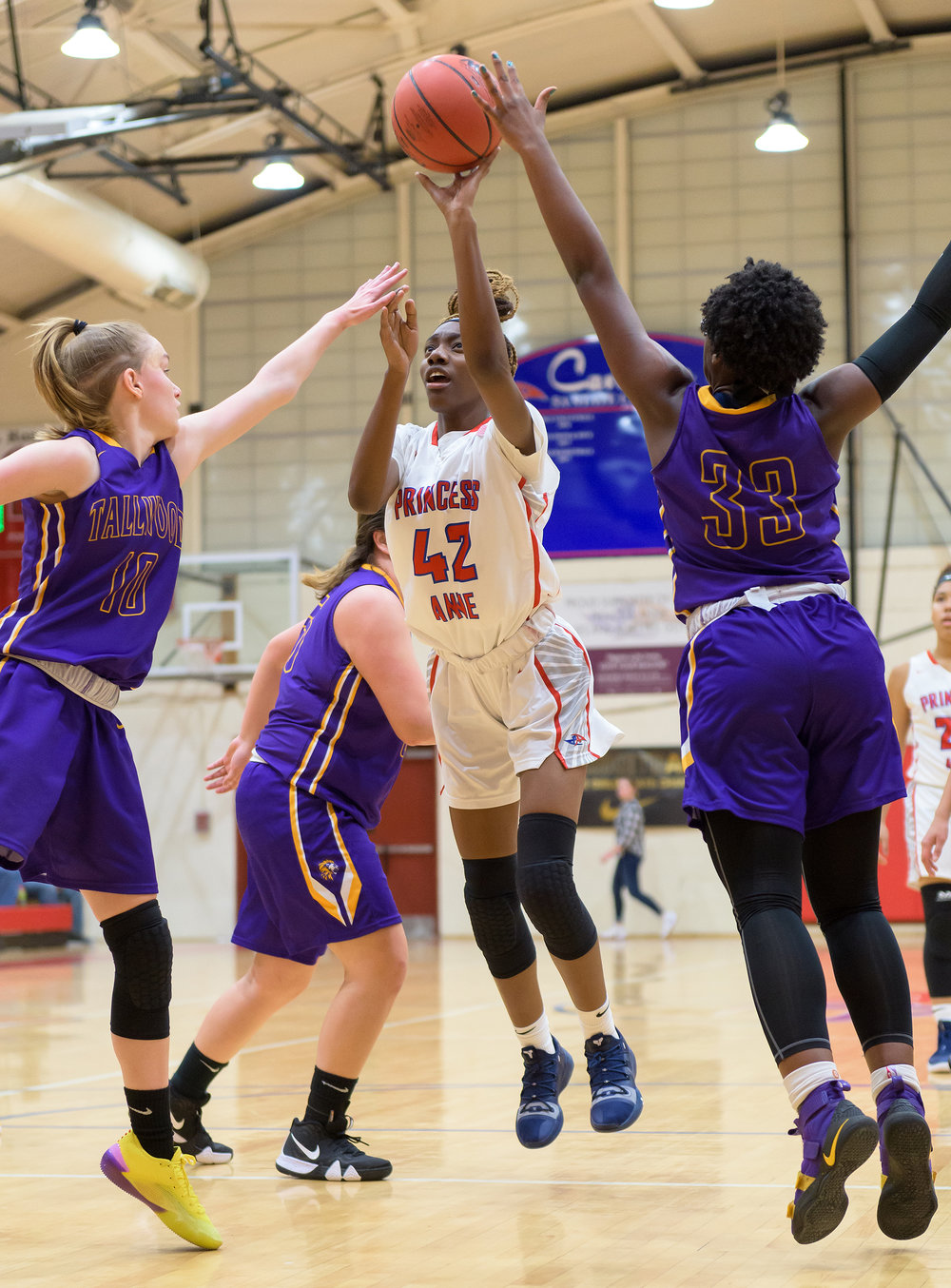 Game action from the Tallwood vs Princess Anne girls basketball game held on Tuesday, December 04, 2018 at Princess Anne High School. Princess Anne defeated Tallwood 69 to 40.