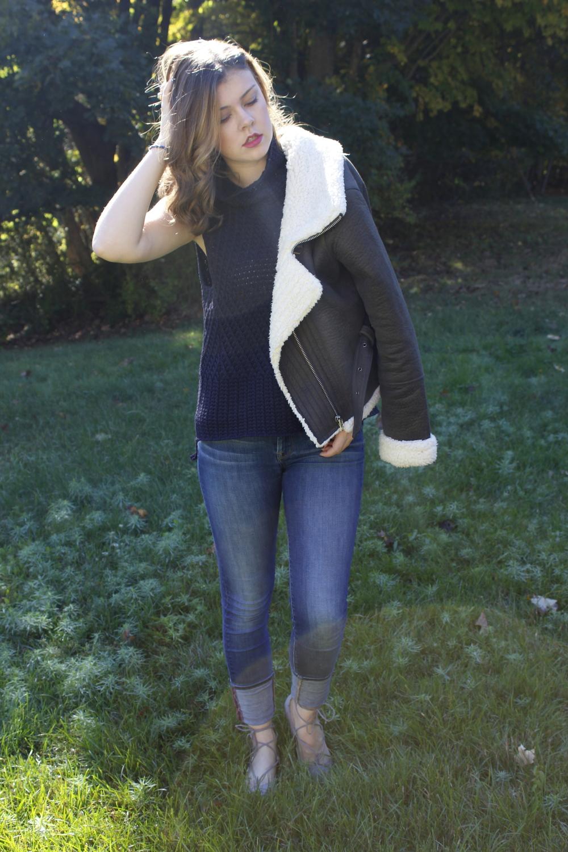 Sweater; Marshall's. Jeans; Lucky Brand. Shoes; Steve Madden. Jacket; Forever21.