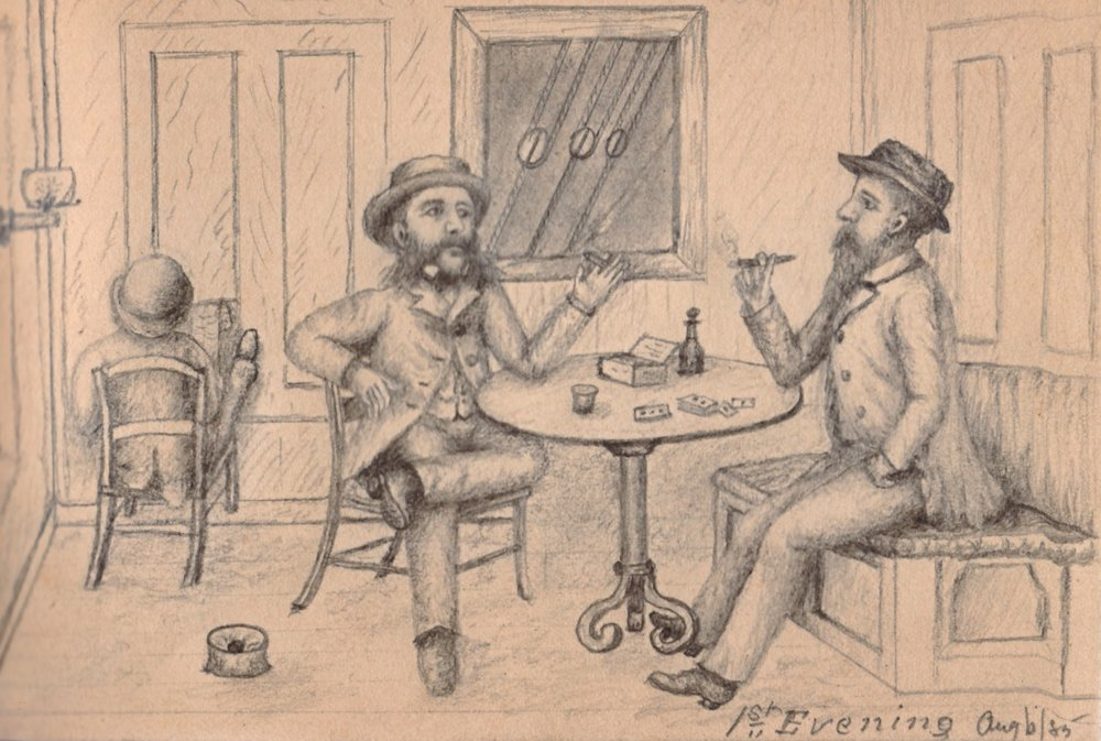 Bronson B. Tuttle, right, and his brother Adelbert aboard a steamer to Europe (Sketch by B.B. Tuttle, 1885)