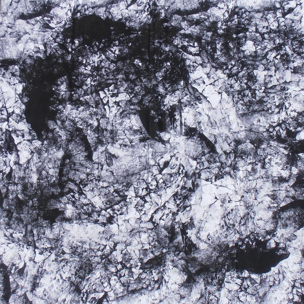 Material: Baumwolle Basismotiv: Kalkstein Fundort: Altaussee, Steiermark Format: 1,40m x 1,40m